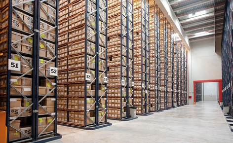 With such little agility offered by this constructive system and to make full use of storage space, racks were installed that occupy the entire height of the building served by order picking forklifts
