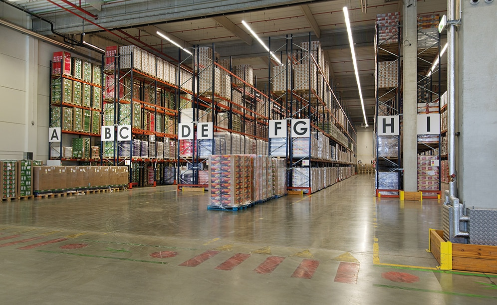 A total of 4,800 pallets is the storage capacity offered by the seven double-depth pallet racks and two single-depth ones, 9 m high and 58 m long, installed by Mecalux