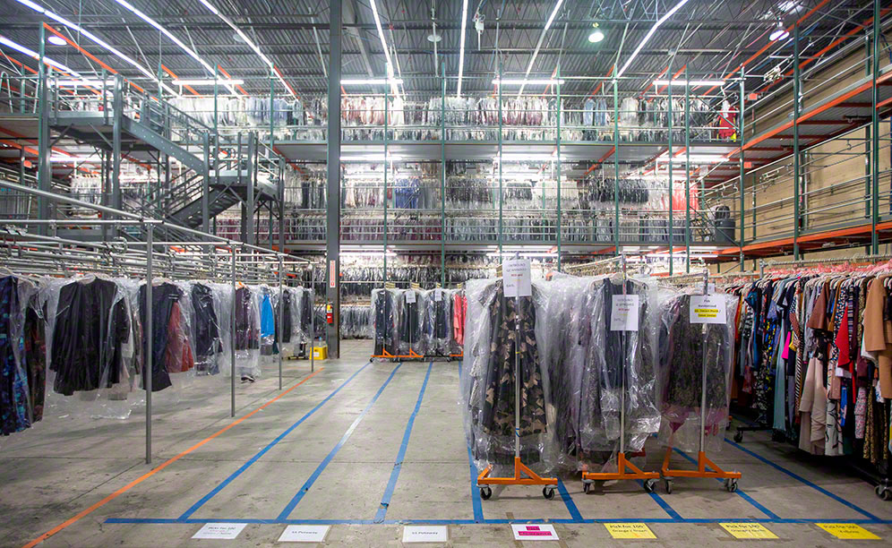 The warehouse for rental dresses from Rent the Runway in the United States