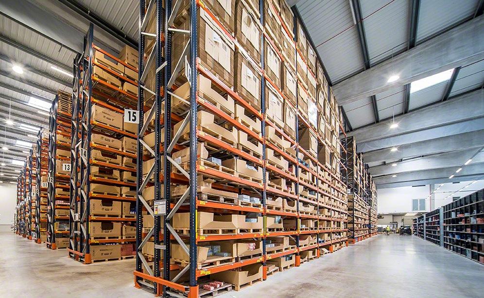 Pallet racks in the bilstein group warehouse in Portugal