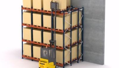 Push-back pallet racking