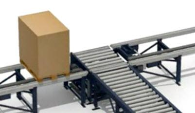 Move pallets from rollers to chains