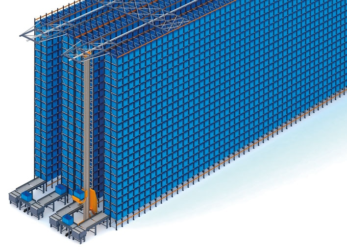 Automated warehouse for boxes and pallet racks of FIC