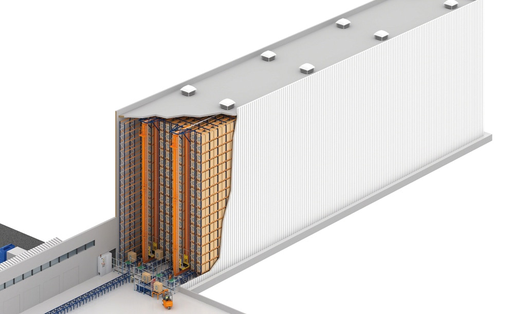 Mecalux designed and installed for Novamed a 20 m high clad-rack automated warehouse in Brazil